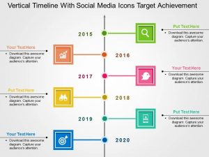 vertical timeline template vertical timeline with social media icons target achievement flat powerpoint design slide