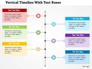 vertical timeline template vertical timeline with text boxes flat powerpoint design slide