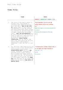video script template music video scripttemplate