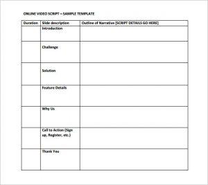 video script template video script outline template sample download