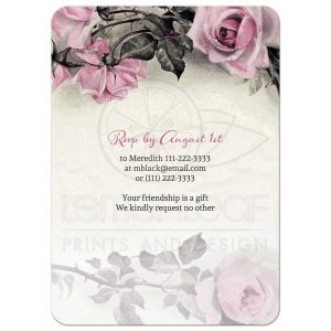 vintage business cards roundedrectangle pink grey silver roses birthday invitation back qm ub