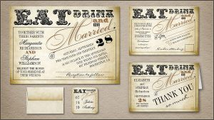 vintage postcard template eat drink and be married wedding