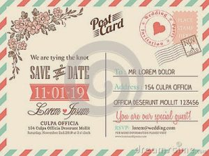 vintage postcard template vintage postcard background wedding invitation vector template
