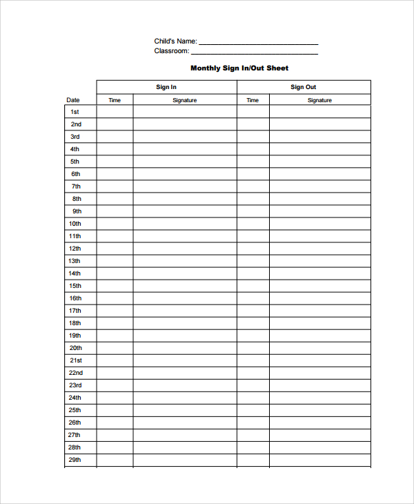 Visitor Sign In Sheet  Template Business