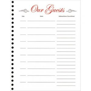 visitor sign in sheet guest book refill sheets