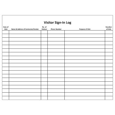 Visitor Sign In Sheet Template  Template Business