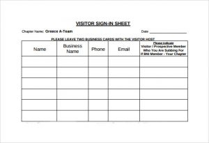 visitor sign in sheet template sign in sheet in visitor