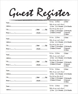 visitor sign in sheets sample free guest house sign in sheet