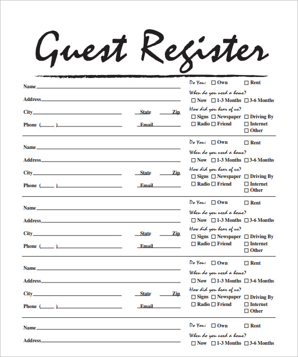 Visitor sign in sheets template business for Guest house business plan template