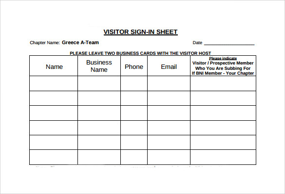 Visitor Sign In Sheets  Template Business