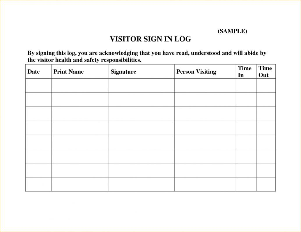 visitors log book template - visitor sign in sheets template business