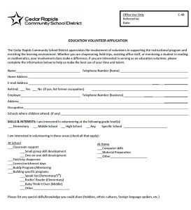volunteer application form applicationform