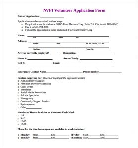 volunteer application form nvfi volunteer application form template free printable