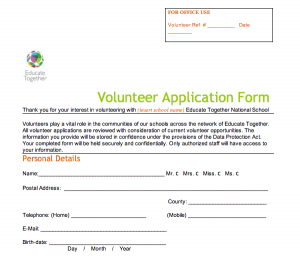 volunteer application form screen shot at