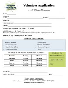 volunteer application form volunteer application