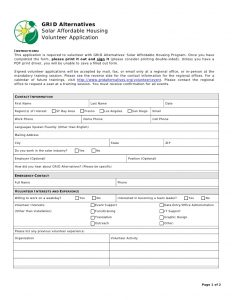 volunteer application form volunteer application form