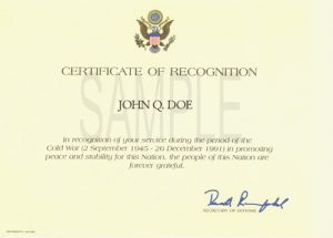 volunteer application template cold war recognition certificate