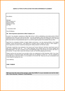 volunteer application template letter for work experience example