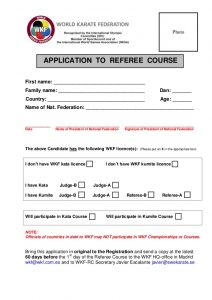 volunteer form template wkf referee course application form