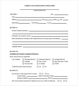 volunteer forms template free download volunteer registration application form template