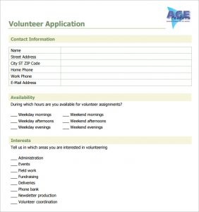 volunteer forms template sample volunteer application template download jpg