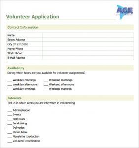 volunteer forms template sample volunteer application template download jpg