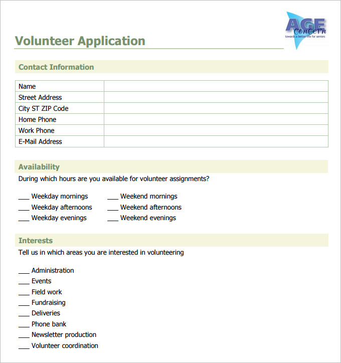 volunteer forms template