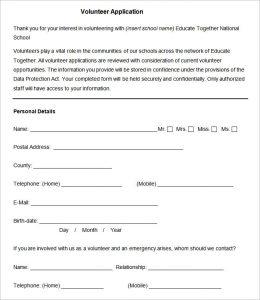 volunteer forms template sample volunteer application template pdf download