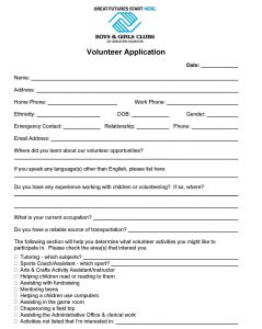 volunteer forms template volunteer application template