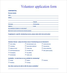 volunteer forms template volunteer personal application form template pdf printable