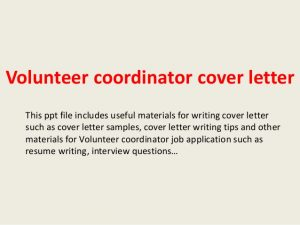 volunteer letter sample volunteer coordinator cover letter