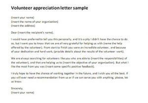volunteer thank you letter volunteer appreciation letter sample