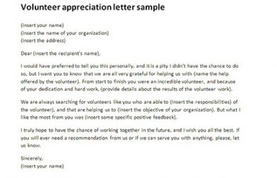 volunteer thank you letter volunteer appreciation letter sample