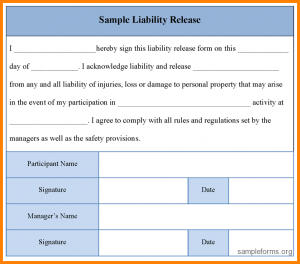 waiver of liability statement simple release of liability form sample liability release form