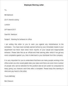warning letter to employee employee warning letter template min