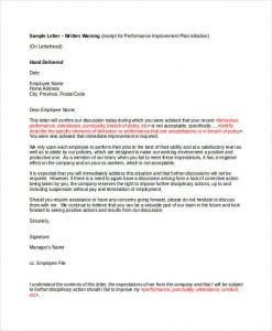 warning letter to employee employee written warning letter template
