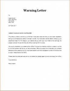 warning letter to employee excessive leaves warning letter
