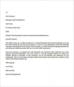warning letter to employee sample warning letter