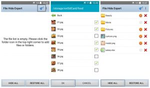 web design icons hide files and filders in android app