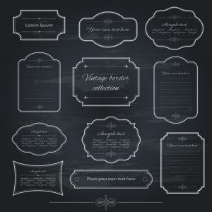 web design icons vintage frame dark style vector
