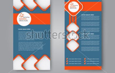 web page mockup stock vector vector flyer and leaflet design set of two side brochure templates vertical banners blue and