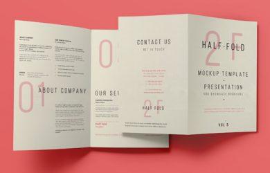web template html half bi fold template presentation mockup brand psd