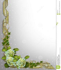 wedding announcement template floral border invitation ivy hydrangea