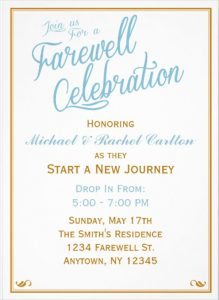wedding announcement templates formal farewell invitation card