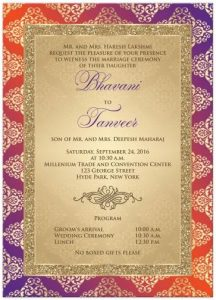 wedding card templates wedding invitation orange purple gold damask faux gold glitter scroll