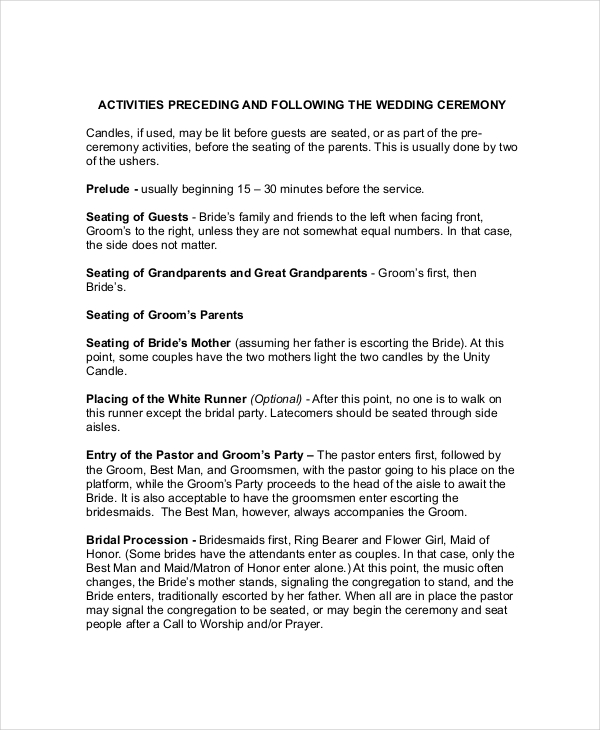 Order Of Speeches At A Wedding: Wedding Ceremony Outline