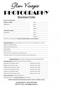 wedding contract template glen visagie booking form