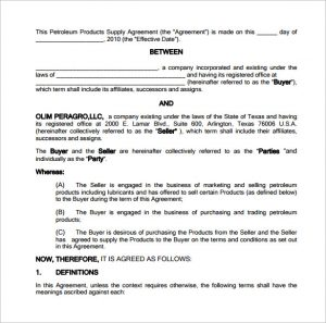 wedding contract template petroleum supply contract template free