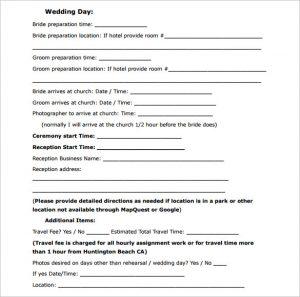 wedding contract template sample wedding contract