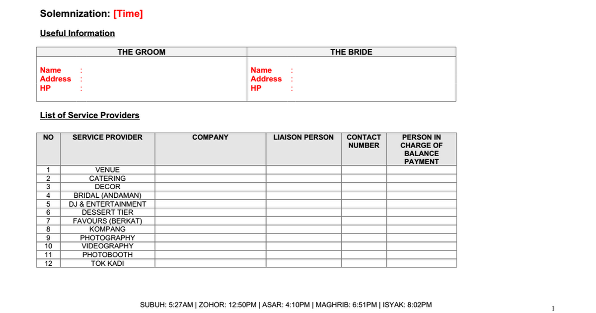 wedding day schedule template template business